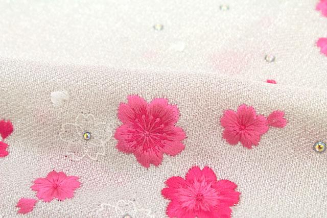 桜刺繍入り正絹ちりめん帯揚げ