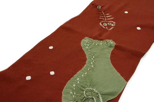 茶色,老竹色,帯揚げ,帯揚,正絹,絞り,ネコ,猫