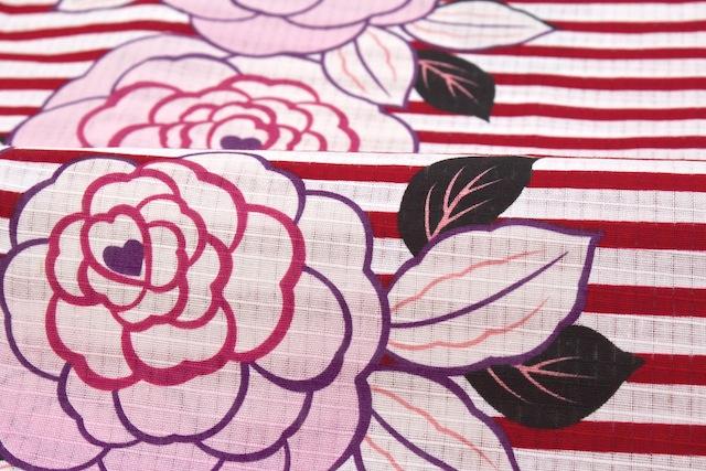 赤い縞と薔薇がポップなボヌールセゾンのレディース浴衣