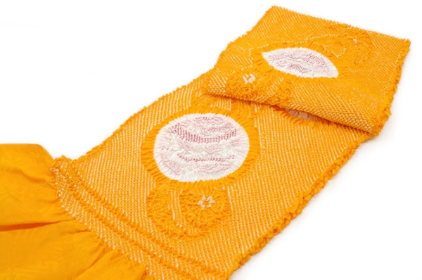 帯揚,帯揚げ,正絹,総絞り,着物,成人式,振袖,蜜柑色,鞠