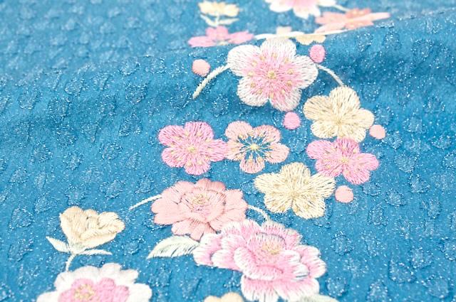 ハート地模様の刺繍振袖向け帯揚げb