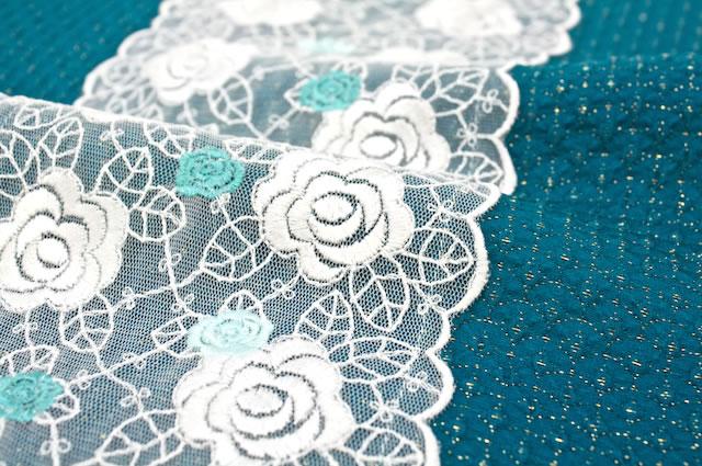 青,バラ刺繍チュールレース付き丹後ちりめん正絹帯揚げ