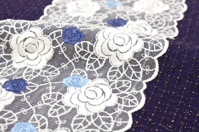 紫,バラ刺繍チュールレース付き丹後ちりめん正絹帯揚げ