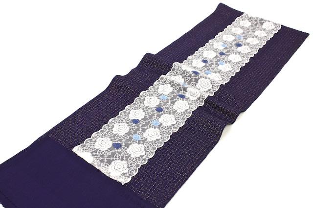 紫,着物スタイルにおすすめ、チュールレース付き丹後ちりめん正絹帯揚げ