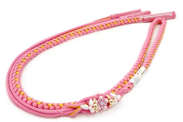 帯締め,ピンク,金,ラインストーン,正絹,成人式,振袖,帯締,日本製