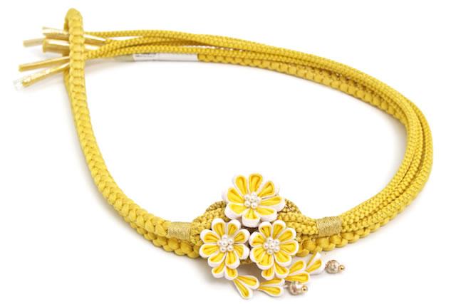 パール飾りが付いた華やかな正絹帯締め