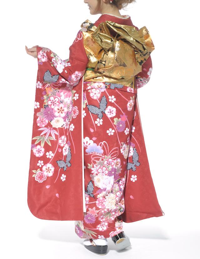 桜や菊、鹿の子斑の蝶が描かれている振袖
