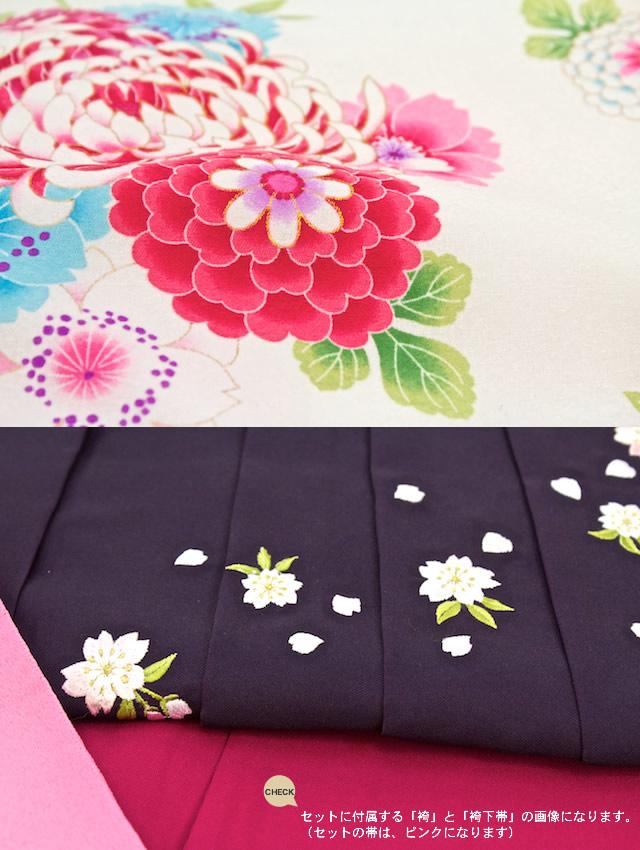 刺繍袴の二尺袖着物の袴セット