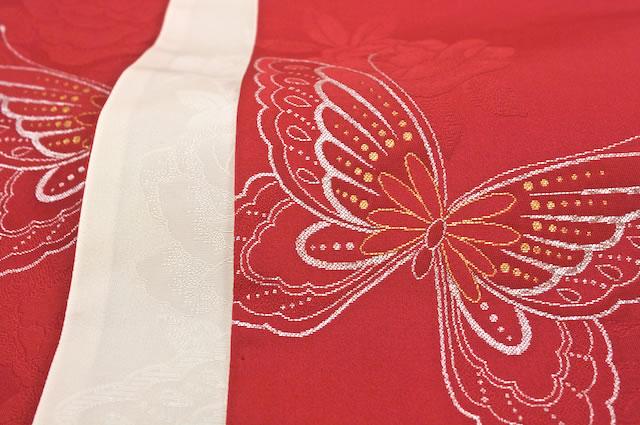 蝶柄のリバーシブル細帯