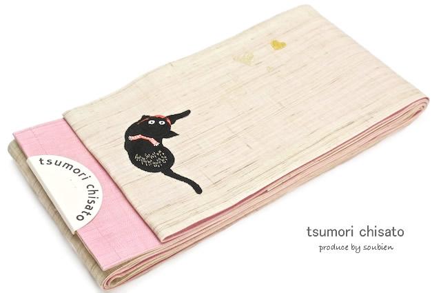 ブランド「ツモリチサト」のベージュ・ピンクの半幅帯
