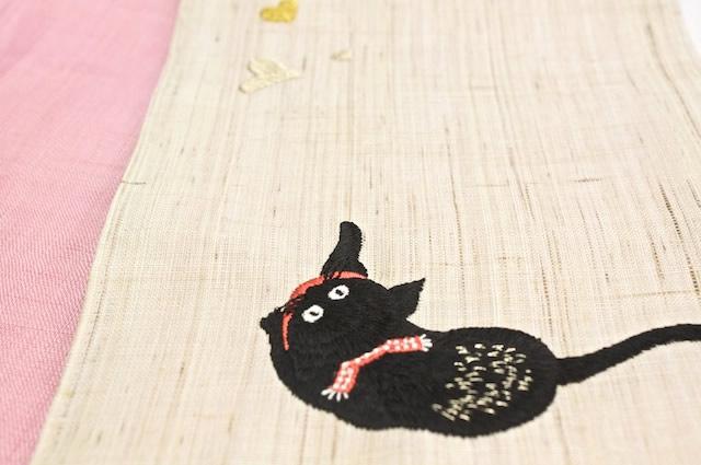 ネコとハートの刺繍半幅帯