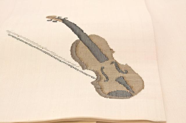 バイオリン刺繍の半幅帯