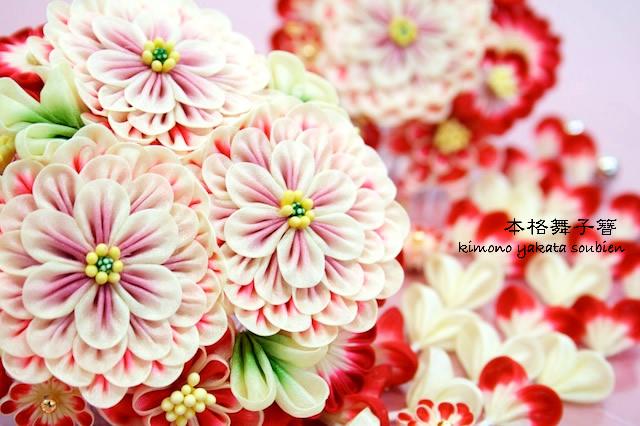 立体的なお花のつまみ細工簪2点セット