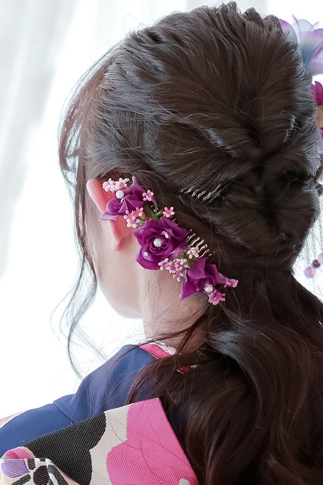 晴れの日の着物に,髪飾りセット