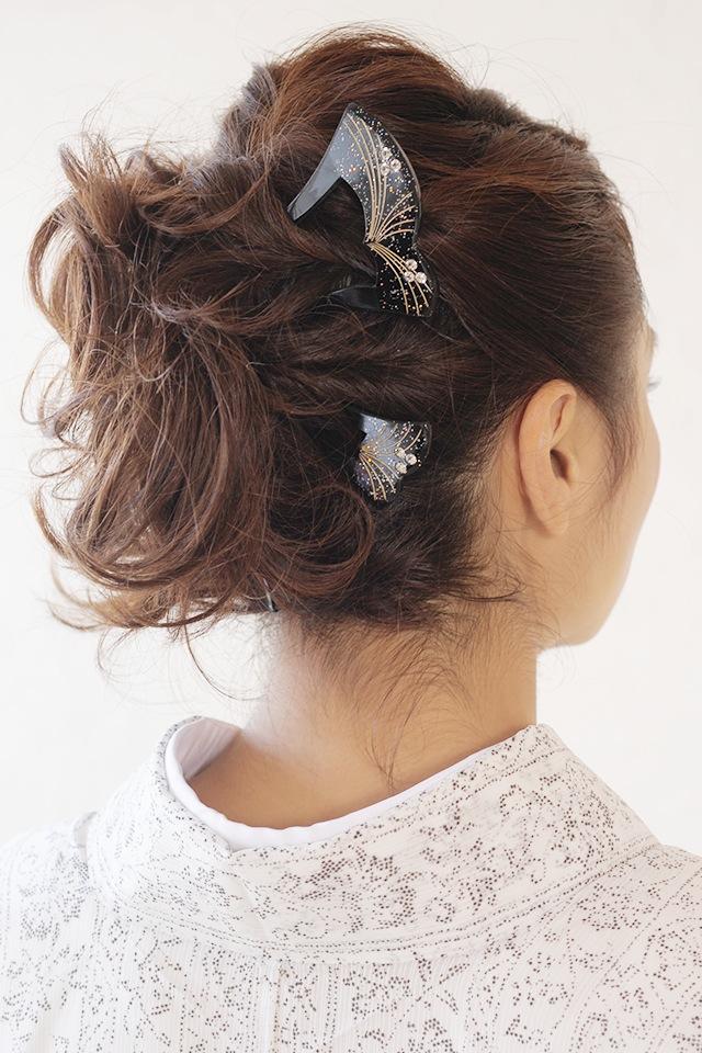 黒留袖、色留袖、訪問着などの着物スタイルにオススメなバチ型簪(かんざし)
