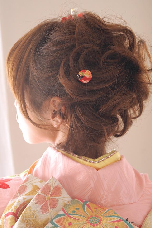 縮緬地を使用した,髪飾りセット