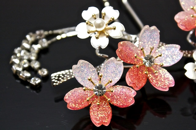 赤系,桜デザイン,簪(かんざし)