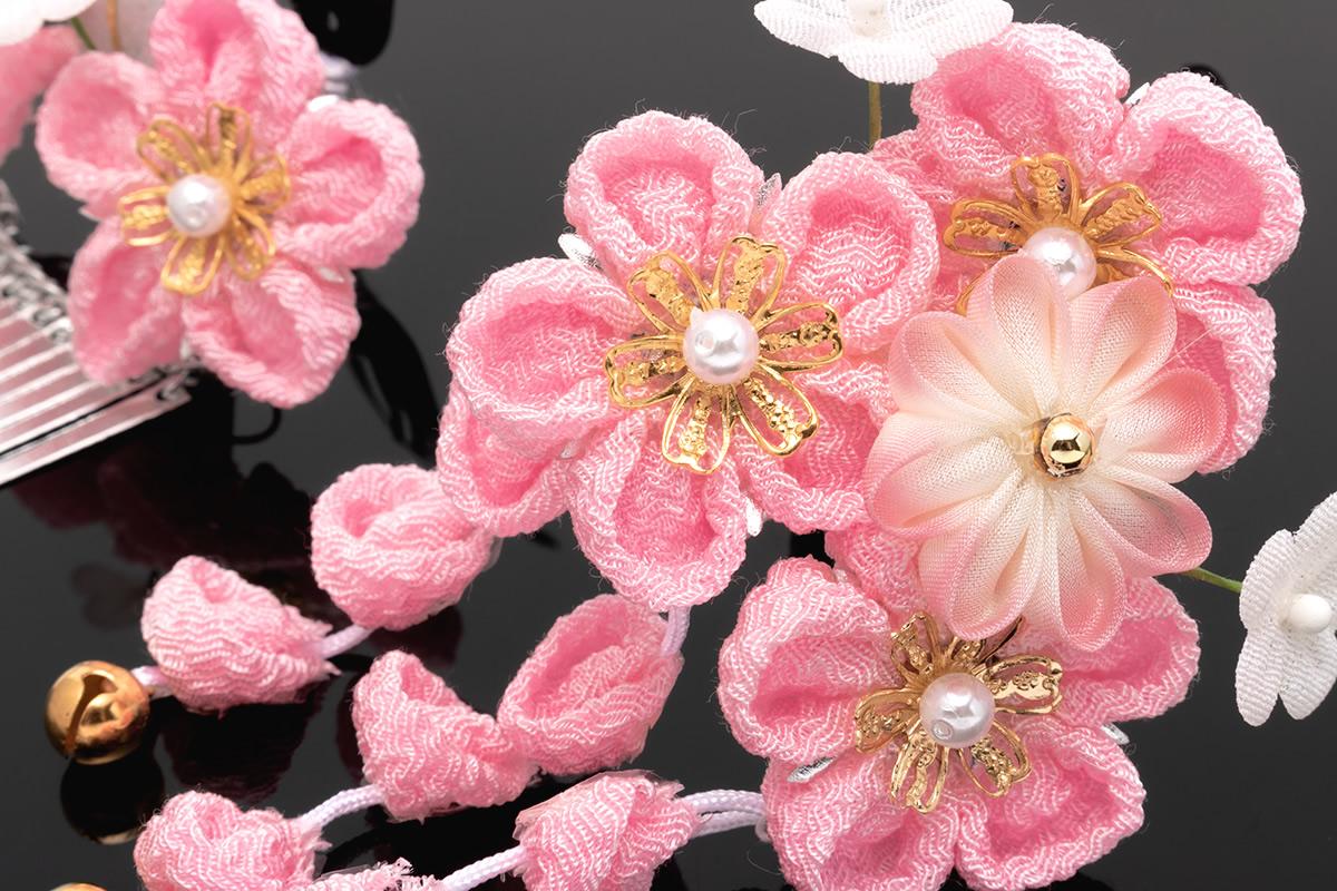 ピンク系,つまみ細工髪飾りセット