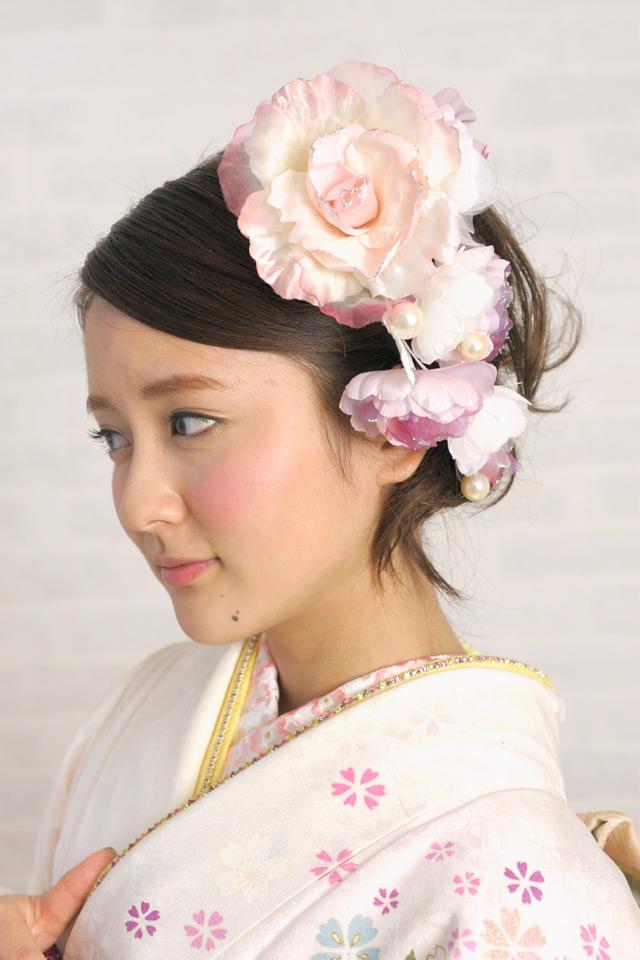 ピンク系、髪飾り