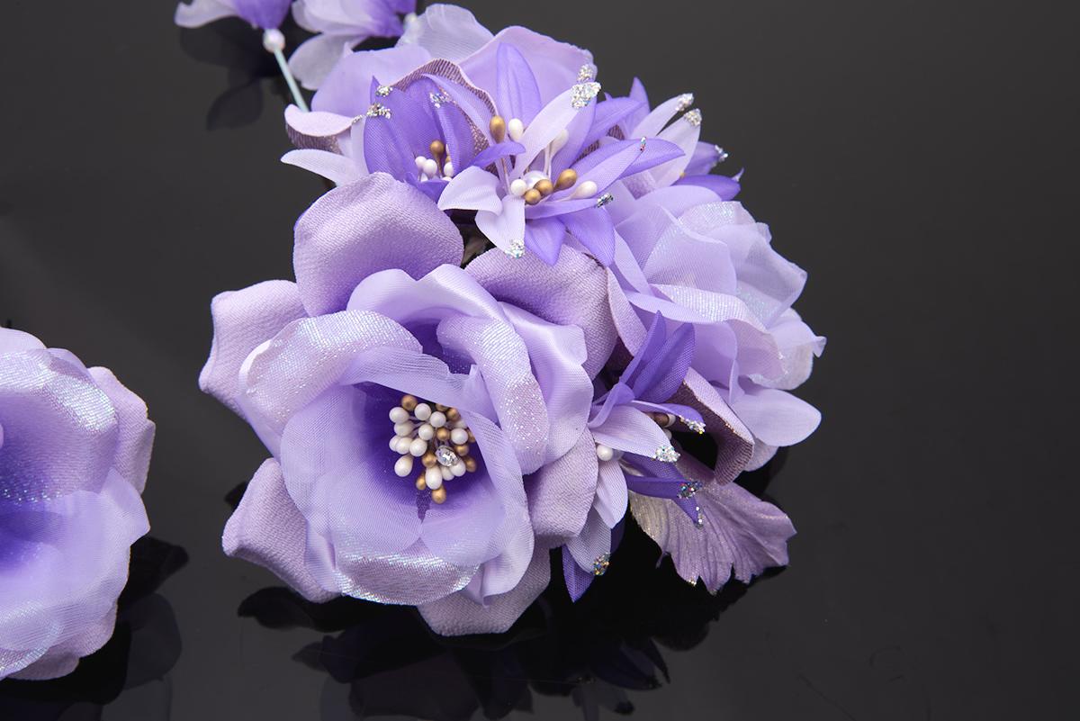 紫,着物スタイルのおしゃれに,髪飾り