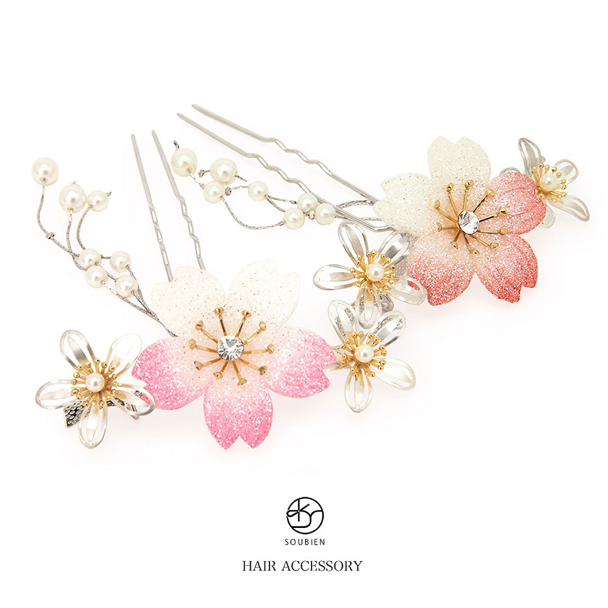 女性用,赤・ピンク,桜簪(かんざし)