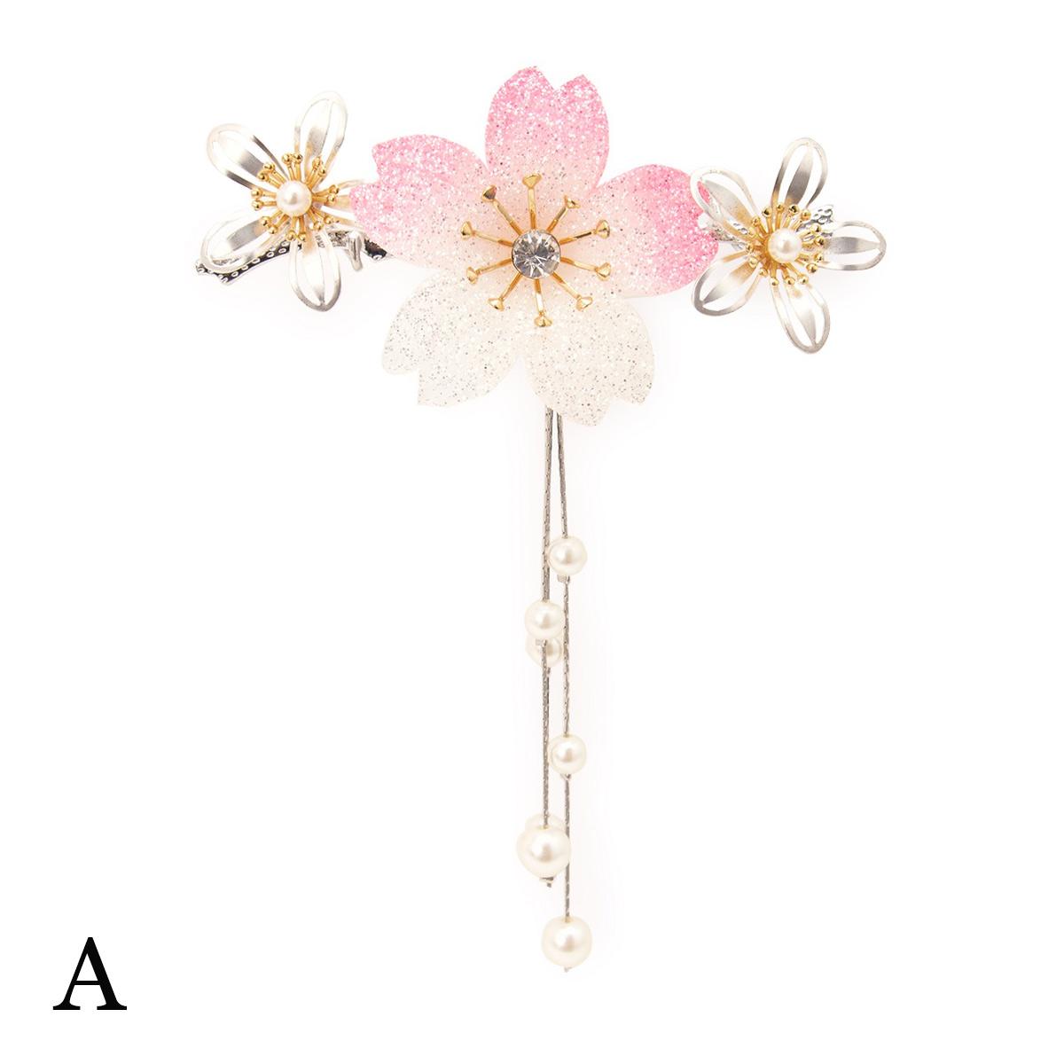 着物スタイルにアクセント,桜モチーフ簪(かんざし)