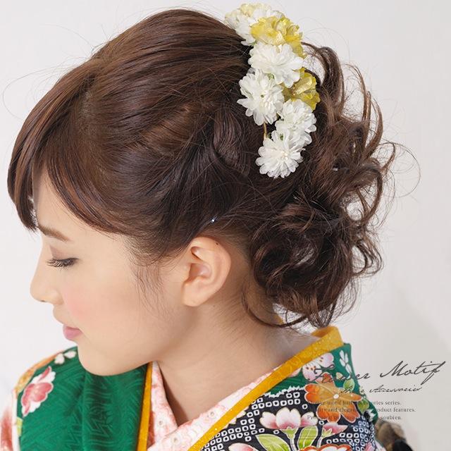 髪飾り 成人式 振袖 浴衣 七五三 結婚式 黄色 花冠 花かんむり カチューシャタイプ フラワークラウン ワイヤー 髪留め 髪かざり ヘアアクセサリー  通販