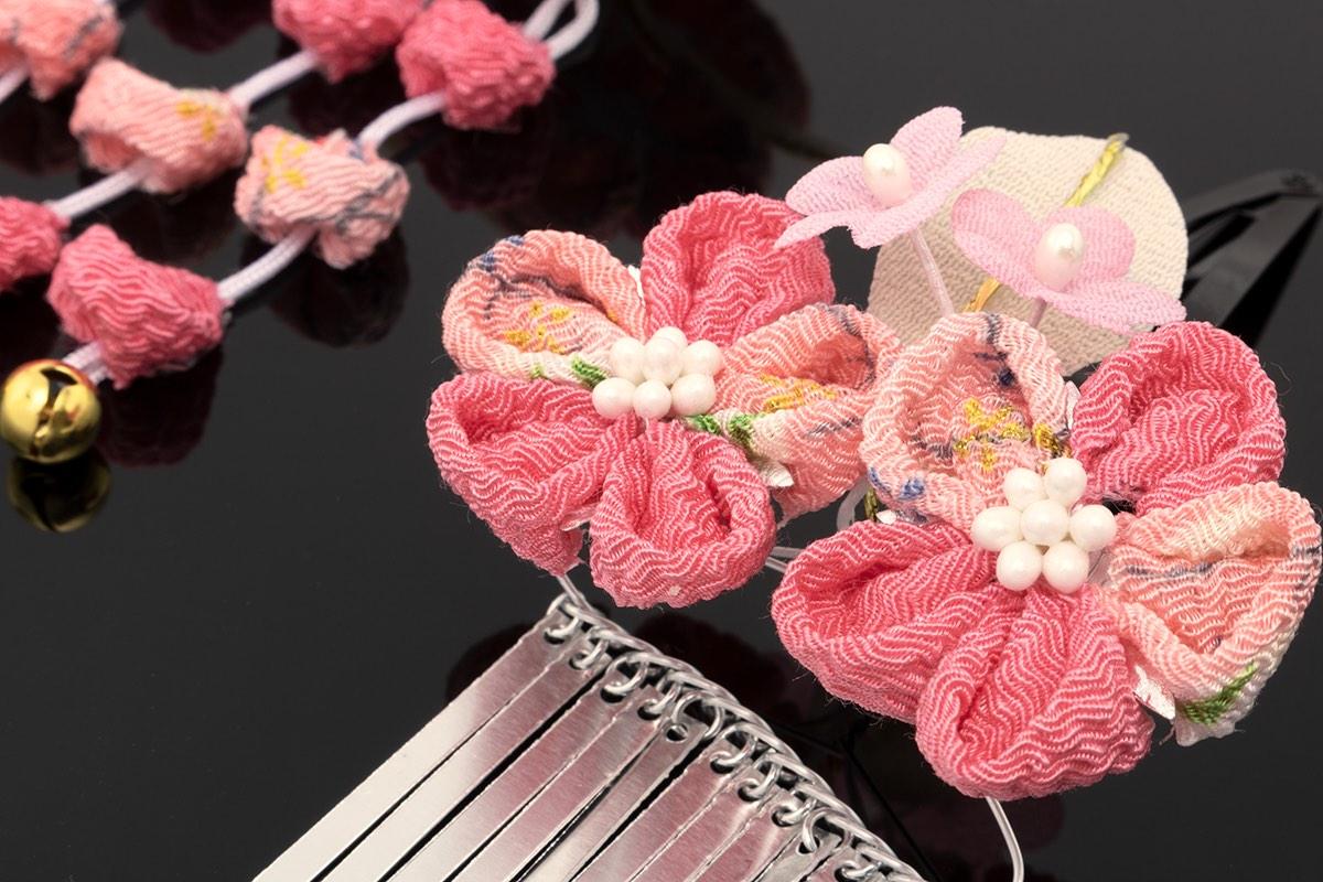 成人式や卒業式の振袖にも☆つまみ細工の花の髪飾り2点セット