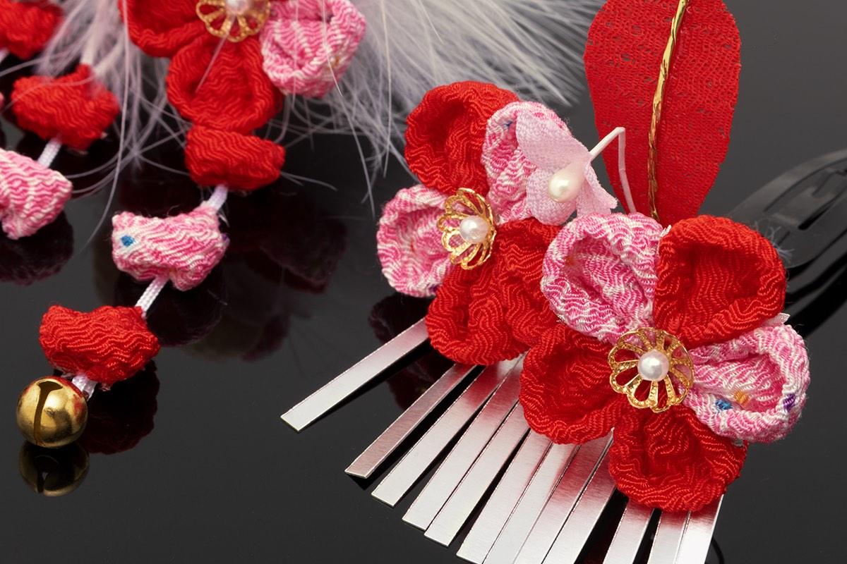 3歳と7歳の七五三に☆つまみ細工の花の髪飾り2点セット