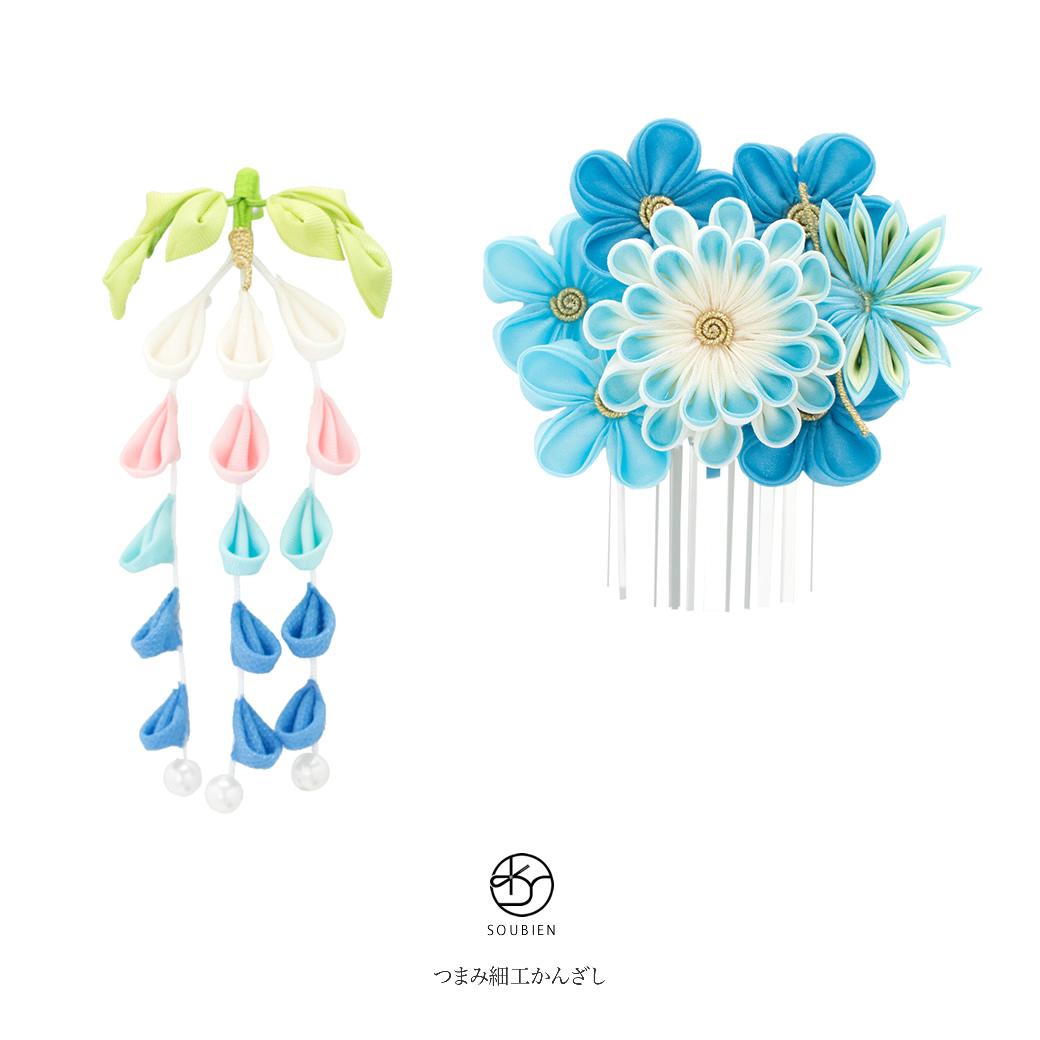 成人式の振袖におすすめな花のつまみ細工の髪飾り