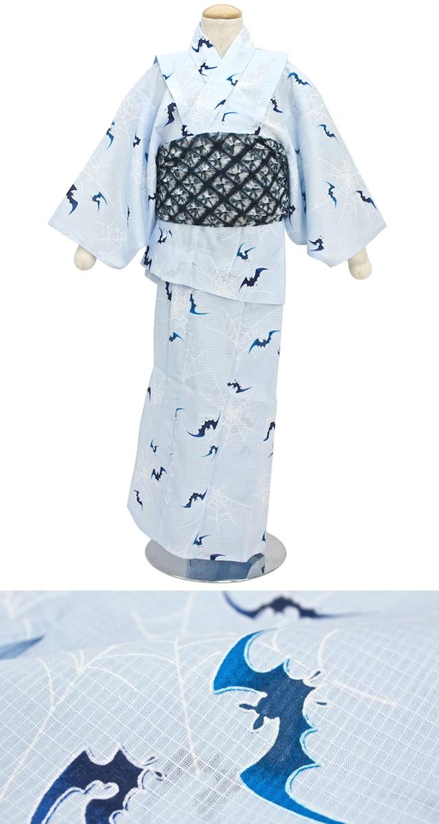 コウモリ柄、子供浴衣
