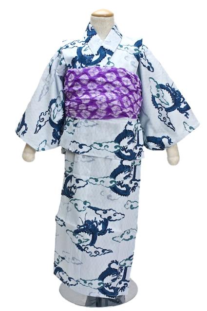 綿100%で市松の変わり織りが施された、龍柄子供浴衣
