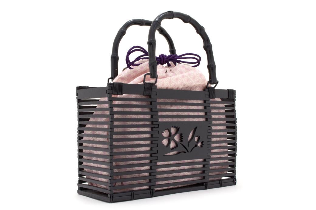 当店限定の巾着付き籠バッグ