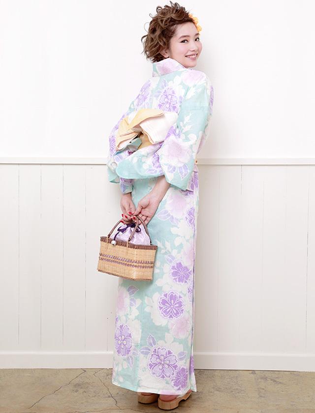 ブランド『デビュー・ド・フィオレ』手縫い・手染め・綿麻素材のレディース浴衣
